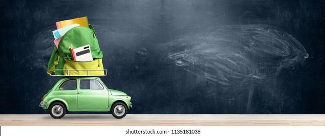 Back to school sale background. Car delivering backpack full of accessories against blackboard