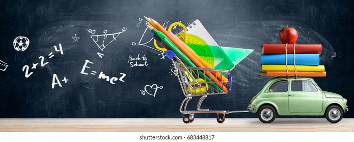 Back to school sale background. Car delivering shopping cart full of accessories, books and apple against blackboard with education symbols.
