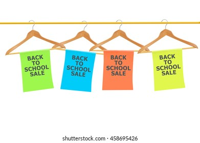 Back to School Sale Signs Banner  Wood Hangers isolated on white background