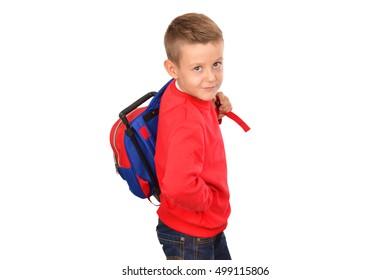 Back to school. Schoolboy. Looking at camera. School concept.