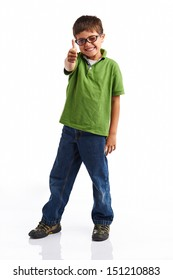 Back to school series: Young happy little boy isolated on white background