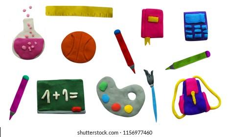 Back to school. Set of Clay plasticine handmade school icons.