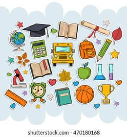 Back to school set .Scrapbook set.Sticker.With hat graduate,scroll, apple,books,flasks, basketball,alarm clock, briefcase, backpack, school bus,globe,ruler,microscope