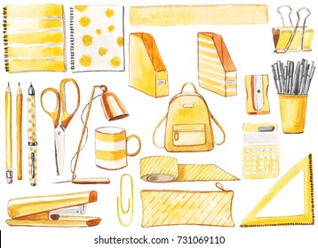 Back to school set in yellow. Backpack, desk lamp, notebooks, mug, pen, pencils, scissors, markers.