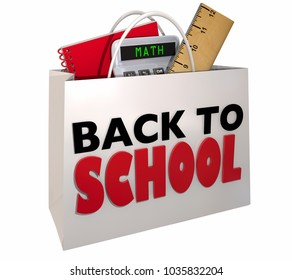 Back to School Shopping Bag Class Supplies 3d Illustration