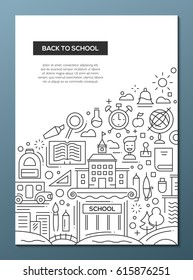 Back to School - simple line design brochure poster, flyer presentation template, A4 size layout