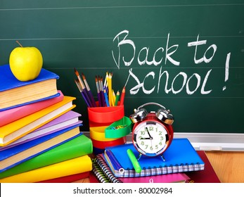 Back to school supplies and board.