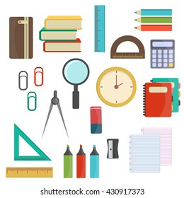 Back to School supplies.Vector of Back to School supplies. School supplies learning equipment and different school supplies colorful office accessories. Back to school school supplies big set.