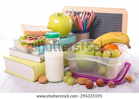 back to school with supply,sandwich and fruit