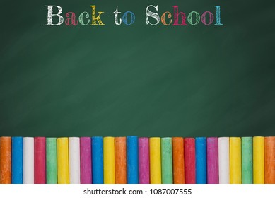 Back to school title word design with colorful text and drawing by colour chalk on green chalkboard background.Education,Business office and Arts Concept.Copy space empty blank for text