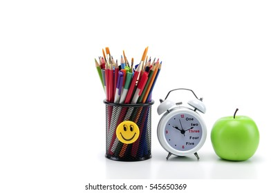Back to school . School tools . On white background.