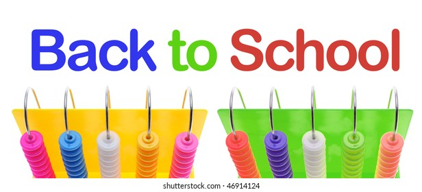 Back to School and Toy Abacus on White Background