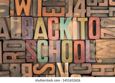 back to school words in letterpress printing blocks