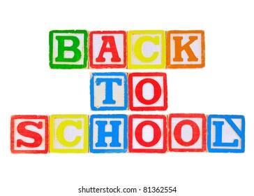 Back to School Written in Alphabet Blocks