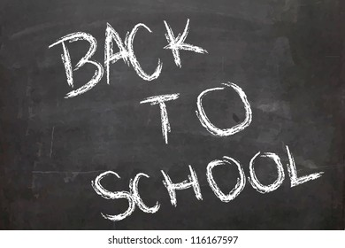 'Back to School' wrote on a chalk board