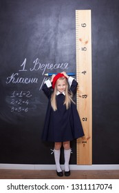 Back to school!Schoolgirl is at the blackboard with a ruler.Schoolgirl answers the lesson.First grader near the chalk board.The kid is studying in the classroom on the background of the school board.