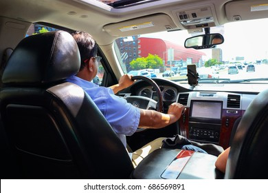 Back Seat View of a Passenger using a transfer from airport to Manhattan