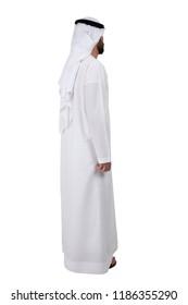 back or side of Arab Emirati man standing on white background