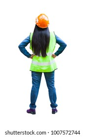 back side of asian woman engineer supervisor wear reflection vest with isolated background