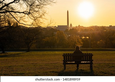 Back side of asian woman sitting alone over the Washington DC Landmark which can see United states Capitol, washington monument and lincoln memorial at the sunrise time, history and culture concept
