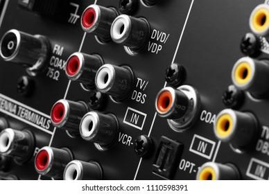 Back side of AV receiver, closeup