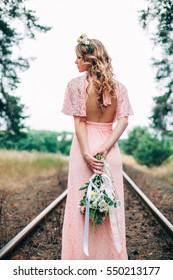 Back Side Of Beautiful Boho Styled Bride