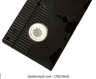 back side of black video cassette, isolated