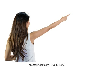 Back side body of Young asian woman standing pointing to something,long hairs black color, isolated on a white background