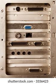 Back side of computer. Old metal.