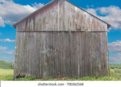 Back Side of Gray Rustic Weathered Barn