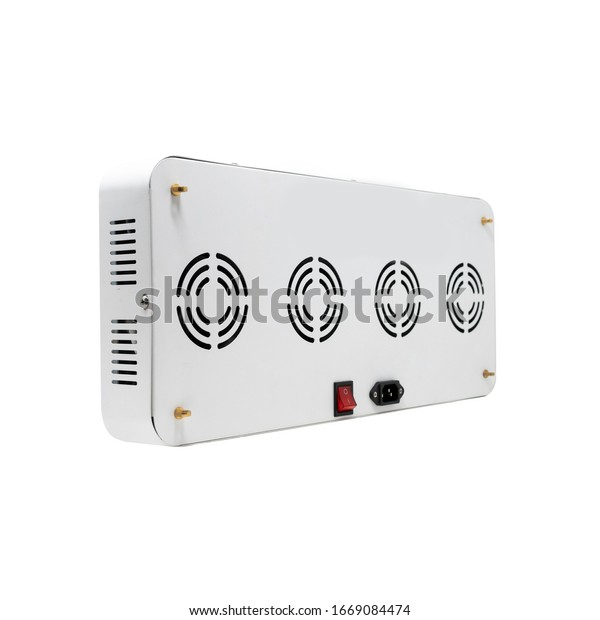Back side of horizontal LED grow light panel isolated on a white background. Indoor grow light for medical plants and greenhouse.