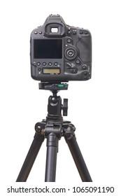 Back side of a mirror reflex camera on a tripod