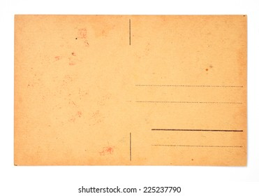 back side of old postal card isolated over white background