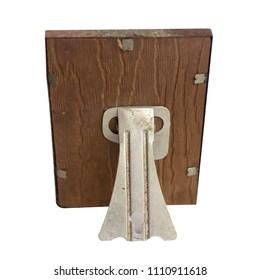 back side of old vintage wood photo frame