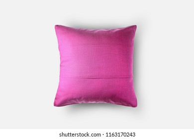 back side of pink cushion cover, throw pillow, isolated on white background