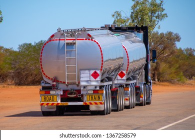 Back side of an road train transporting gasoline in Australian Outback