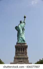 The back side of the Statue of Liberty