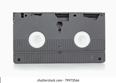 Back side of a video tape against a white background