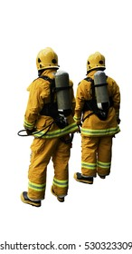 Back side view of firefighters in yellow fire-proof uniform over white background isolated.