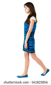 back side view of going brunette girl . beautiful woman in motion.  backside view of person. Isolated over white background. Rear view people collection.