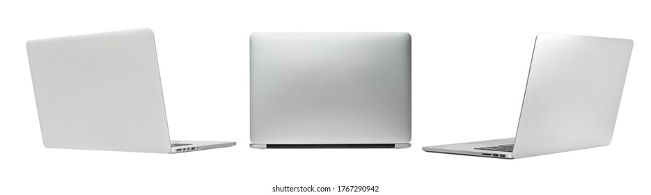 Back and side view, Laptop or Notebook isolated with clipping path on white background.