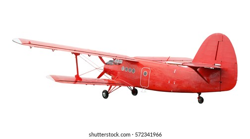 Back side view of red airplane biplane with piston engine and propeller. Isolated on white background