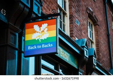 Back to Back sign in Gay Village/ Birmingham/UK/01012020