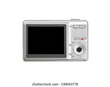 back silver digital compact camera with the blank black screen display for your image or photo isolated on white background included clipping path for a camera body and black screen display