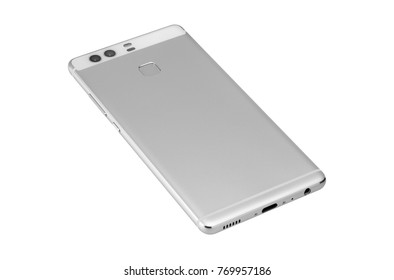 Back of the silver mobile smart phone isolated on a white background