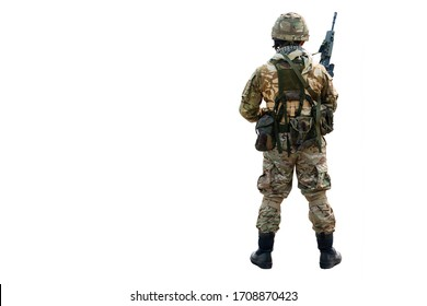 Back of the Special Forces soldier in combat uniforms standing with a holding gun rifle, Concept war, army, weapon, technology protection country with isolated on white background