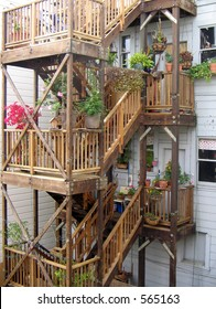 back stairs and landings of a San Francisco victorian apartment building
