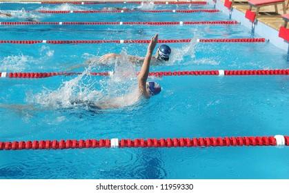 Back stoke swimmer
