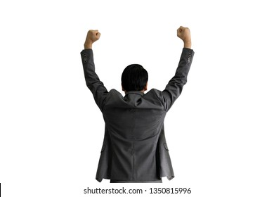 back of successful business man raising hand isolated on white background, businessman success concept.