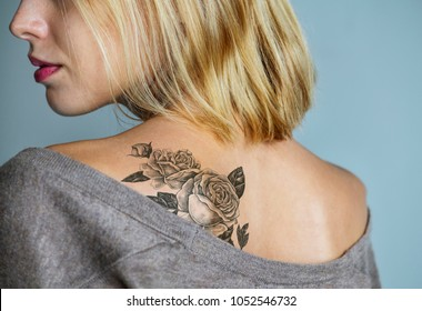 Back tattoo of a woman